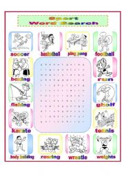 English Worksheet: Sport Word Search