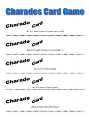 English Worksheet: Charades Card Game (Part 2)