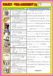 English Worksheet: Subject - verb agreement (part 2) + KEY