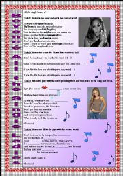 English Worksheet: Beyoncé All the Single Ladies song-based activity