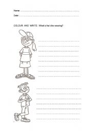 English Worksheet: WHAT IS SHE/ HE WEARING?