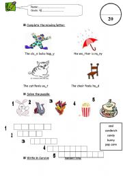 English Worksheets: writing test for grade 4