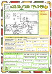 English Worksheet: Color your teacher:-)