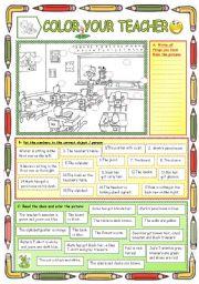 English Worksheet: Color your teacher:-)