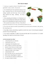 English Worksheet: For Earth Day