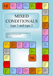 English Worksheet: Mixed Conditionals - a boardgame (editable)