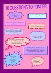 English Worksheets: Questions to ponder