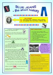 English Worksheets: JEANS - the short history & key (fully editable)