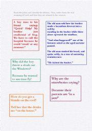 English worksheet: Jokes Containing Idioms