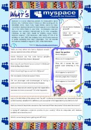 English Worksheets: What�s Myspace? - reading comprehension **fully editable