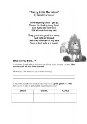 English worksheet: FUZZY LITTLE MONSTERS