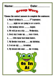 English Worksheet: Preposition of time with Mr. Frog