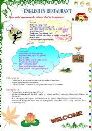 English Worksheet: English in restaurant (1)