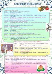 English Worksheet: English in restaurant (2)