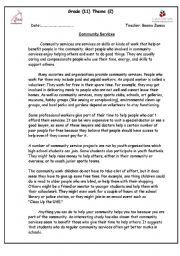 English Worksheet: Community Services