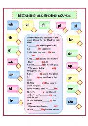 English Worksheets: BEGGINING AND ENDING SOUNDS/BLENDS