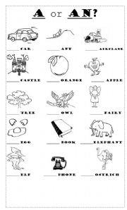 Worksheets A Or An Worksheet a or an worksheet indefinite article teaching esl pinterest
