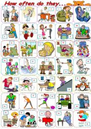 English Worksheets: How often do they... - Action verbs pictionary + adverbs of frequency exercises - ***fully editable ((2pages))