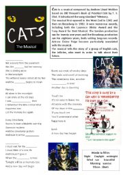 English Worksheets: CATS the Musical. Reading and Theme song