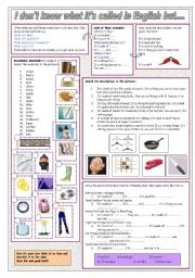 English Worksheet: I don�t know what it�s called in English but...
