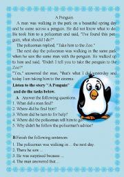 English Worksheets: A penguin