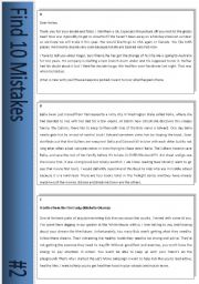 English Worksheets: Find 10 Mistakes #2