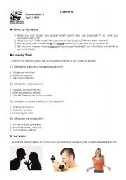 English Worksheet: Conversation Class about Complaints (Teacher�s copy with answers and instructions)
