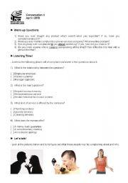 English Worksheet: Conversation class about Complaints (Student�s copy)