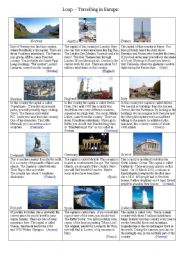 English Worksheet: Loop - Travelling in Europe