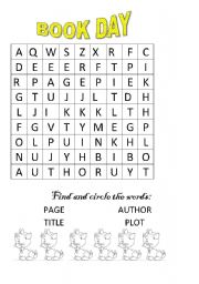 English Worksheet: BOOK DAY WORDSEARCH