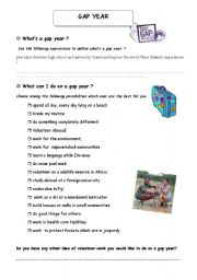 English Worksheet: WHAT IS A GAP YEAR
