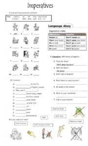 English Worksheet: Imperatives