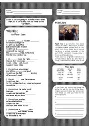 English Worksheet: wishlist - Pearl Jam