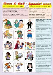 English Worksheets: Special uses of have and get - grammar guide & exercises ***fully editable