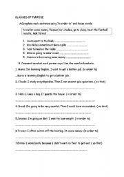 English Worksheets: �n order to