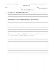 English Worksheets: self descipline