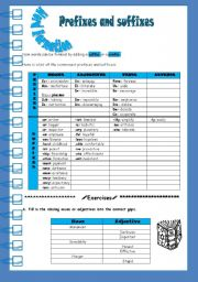 English Worksheet: word formation - prefixes and sufixes