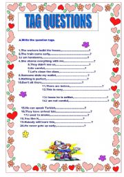 English Worksheets: TAGS QUESTIONS