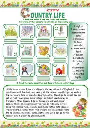 English Worksheet: COUNTRY/CITY LIFE (3 pages)