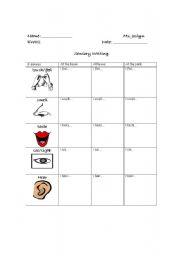 English Worksheets: Sensory Writing
