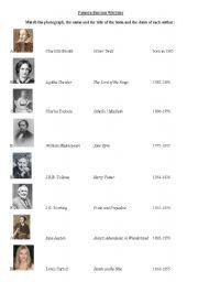 English Worksheets: Famous British Writers