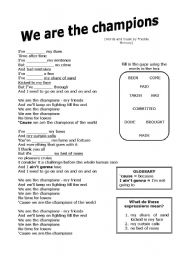 We are the champions worksheet