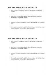 English Worksheets: All The President�s Men Movie Questions - Day 1