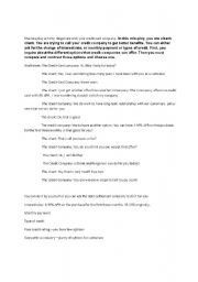 English Worksheet: the role play between bank teller and a client