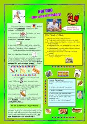 English Worksheet: HOT DOG - the short history & key (fully editable)