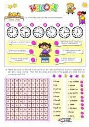 English Worksheet: Time Fun Activities for Elementary and Lower Intermediate stds.