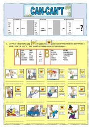 English Worksheets: Can & Can�t (ability)