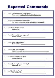 English Worksheet: Reported Speech (Commands)