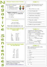 english exercises to be negative sentences. Black Bedroom Furniture Sets. Home Design Ideas