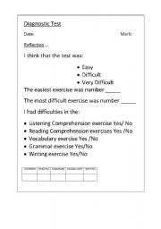 English Worksheet: Self Evaluation about a test